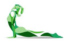 Moderiktig stiliserad illustrationrörelse, yoga poserar, praktiserande asanas för den unga kvinnan, linjen vektorkontur Arkivfoto