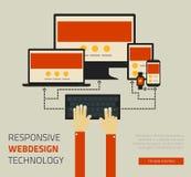 Moderiktig svars- design för webdesignteknologisida Royaltyfria Foton