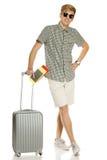 Moderiktig ung man med resväska Royaltyfria Bilder