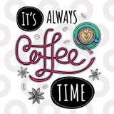 Moderiktig vektor för kaffe stock illustrationer