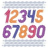 Moderiktig vektor, kall nummersamling Rundade dj?rva kursiva tal fr?n 0 till 9 kan anv?ndas i retro, diskot, popaffischdesign royaltyfri illustrationer