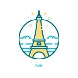 Moderiktig vektorlinje Eiffeltornsymbol Royaltyfri Foto