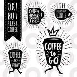 Moderiktig vektoruppsättning för kaffe royaltyfri illustrationer