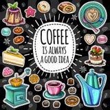 Moderiktig vektoruppsättning för kaffe stock illustrationer
