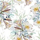 Moderiktig vit blom- modell med många sort av blommor botaniska motiv spridde slumpmässigt vektor illustrationer