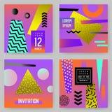 Moderiktiga abstrakta affischer ställde in med stället för din text Geometriska baner för Hipster, plakat, tappning för bakgrunde vektor illustrationer