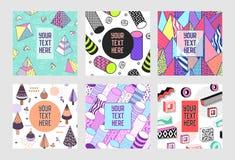 Moderiktiga abstrakta Memphis Poster Templates Set med stället för din text För banerbakgrunder 80-90 för Hipster geometrisk stil Royaltyfria Bilder