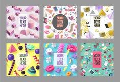 Moderiktiga abstrakta Memphis Poster Templates Set med stället för din text Stil för tappning för Hipsterbanerbakgrunder 80-90 Arkivfoto