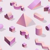 Moderiktiga abstrakta Memphis Seamless Pattern med geometriska former 3d Modebakgrund för textilen, tryck, räkning, affisch Royaltyfria Bilder