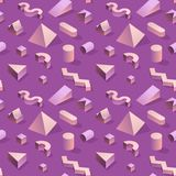 Moderiktiga abstrakta Memphis Seamless Pattern med geometriska former 3d Modebakgrund för textilen, tryck, räkning, affisch Royaltyfri Bild