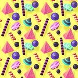 Moderiktiga abstrakta Memphis Seamless Pattern med realistiska beståndsdelar 3d Fotografering för Bildbyråer