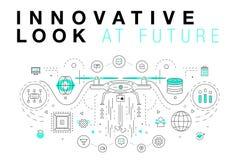 Moderiktiga innovationsystemorienteringar i den polygonal konturlinjen komp Arkivbild