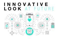 Moderiktiga innovationsystemorienteringar i den polygonal konturlinjen komp Arkivfoton