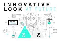 Moderiktiga innovationsystemorienteringar i den polygonal konturlinjen komp Royaltyfri Fotografi