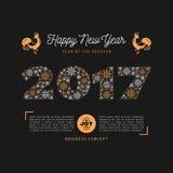 Moderiktiga nummer för kort 2017 för lyckligt nytt år, snöflingor, Art Deco royaltyfri illustrationer