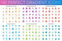 180 moderiktiga perfekta lutningsymboler för vektor ställde in av affärsmotivationen, analys, affärsväsentlighet, affärsprojekt vektor illustrationer