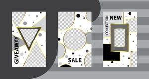 Moderiktiga redigerbara mallar för instagramberättelser, försäljning Designbakgrunder för socialt massmedia Hand dragit abstrakt  stock illustrationer