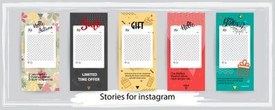 Moderiktiga redigerbara mallar för instagramberättelser, vektorillustr stock illustrationer