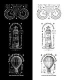 Moderiktiga Retro tappninggradbeteckningar - emblemvektoruppsättning med fyren Royaltyfri Fotografi