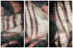 Moderiktigt färgbegrepp Collage med abstrakt bakgrund, moderna halvton med regndroppar, suddig stil Delikata toner royaltyfria foton