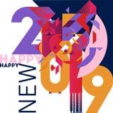 Moderiktigt färgrikt och stilfullt hälsa kort för nytt år royaltyfri foto
