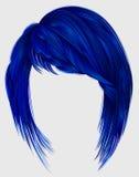 Moderiktigt kvinnahårmörker - blå färg kare med smällmedlet le Arkivbilder