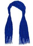 Moderiktigt långt hårcornrowsmörker - blå färg Modeskönhetstil Fotografering för Bildbyråer