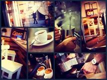 Moderiktigt stads- kafé Royaltyfri Foto