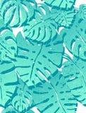 Moderiktigt tryck, sömlös modell med blåa monsterapalmträd på vit bakgrund Vektorillustration, stor design vektor illustrationer