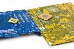 Moderkort och processorer Arkivbilder