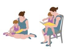 Moderläsebok till barnet vektor illustrationer