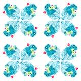Moderlamm som omges lovingly av röda hjärtor som lite rymmer på hans lamm för händer Komisk vattenfärgillustration som isoleras p stock illustrationer