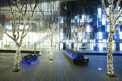 Moderm business building at Christmas eve Stock Photo