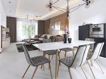 Modern äta middag tabell, modern vardagsrum i ljusa färger med stora fönster royaltyfri illustrationer