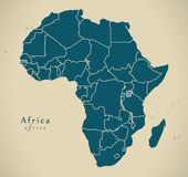 Modern översikt - Afrika kontinent med gränser vektor illustrationer