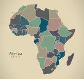 Modern översikt - Afrika kontinent med politiskt kulört för länder vektor illustrationer