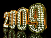 Modern 2009 year. Isolated on black background 3D Royalty Free Stock Photos