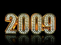Modern 2009 year. Isolated on black background 3D Royalty Free Stock Image