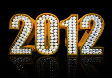 Modern 2012 year. Isolated on the black background 3D rendering Stock Illustration