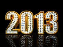 Modern 2013 year. On the black background illustration Royalty Free Stock Photography