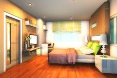 modern 3d bedroom1 Royaltyfria Foton