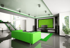 Modern 3d binnenland van woonkamer stock illustratie