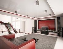 Modern 3d binnenland van woonkamer royalty-vrije illustratie