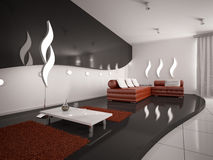 Modern 3d binnenland van woonkamer Stock Afbeeldingen