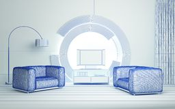 Modern 3d interior Stock Photo