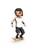 Modern 3D Man Performing on Skateboard. Modern 3D Man Performing Trick on Wooden Skateboard Stock Photos