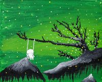 Cute ghost boy sits on a swing in a green floating fantasy landscape. royalty free illustration