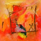 Modern Abstract Art - Painting - Calligraphy / Graffiti - Red and Orange Colors Stock Image