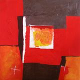 Modern Abstract Art - Painting - Geometric Squares - Red and Black Colors Royalty Free Stock Photos