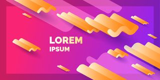 Modern abstract background. Banner with waves of different sizes and with three-dimensional geometric shapes. Vector illustration royalty free illustration